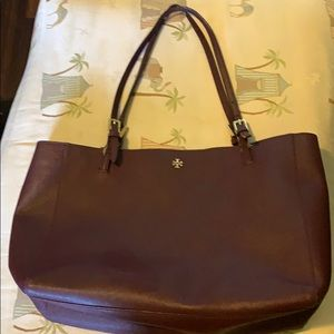 Tory Burch Emerson large buckle burgundy tote